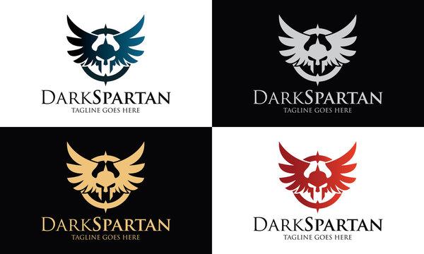 Dark spartan logo design template ,Spartan wings logo design concept ,Vector illustration