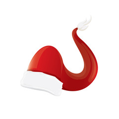 vector red santa hat isolated on white background
