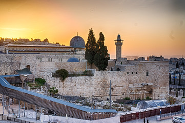 Sun about to rise over the southern temple mount and the Al Aqsa Mosque in the old city of Jerusalem