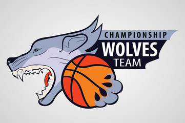 wolf head with the ball in his paws. sporting the emblem. The command icon.symbol of the basketball team