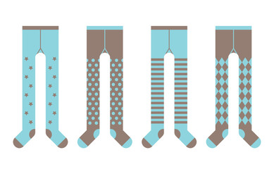 Set of children tights. Boy designs. Vector