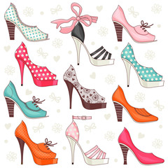 Set of illustrations with women's shoes