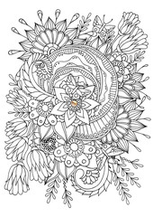 Hand drawn backdrop. Coloring book  page for adult and older children. Black and white abstract floral pattern. Raster illustration