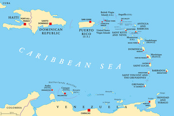 Lesser Antilles political map. The Caribbees with Haiti, the Dominican Republic and Puerto Rico in the Caribbean Sea. With capitals and national borders. English labeling. Illustration. Vector.