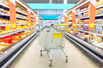 Cart at the grocery store. Supermarket interior, empty shopping trolley. Business ideas and retail trade. Advertising of food products.