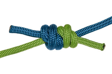 Grapevine knot, blue and green rope.