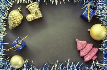 Vintage Christmas flat composition. Blue sparkling ribbon wreath frame