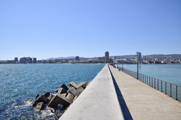 marina and quay of Novorossiysk. Urban landscape of the port city