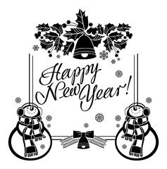 "Holiday label with funny snowman and written greeting ""Happy New Year!"". Vector clip art."