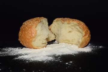 flour bun on a black background