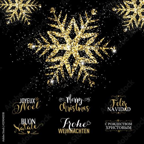 Auguri Di Buon Natale Eleganti.Eleganti Auguri Di Buon Natale Con Fiocco Di Neve Dorato Splendente