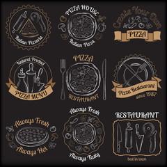 Set of pizza menu restaurant white and beige badges on black bac