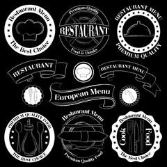Restaurant black and white badges
