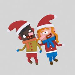 Christmas Children.  Custom 3d illustration contact me!
