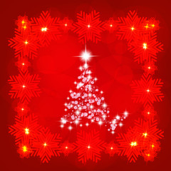 Background in abstract red colours with christmas tree. Illustration.