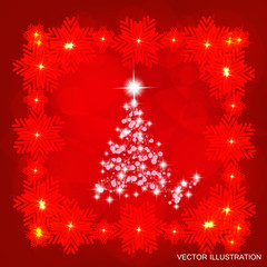 Background in abstract red colours with christmas tree. Vector illustration.
