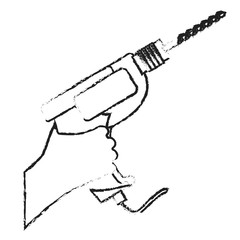 power drill tool sketch style icon image vector illustration design