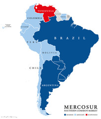 MERCOSUR countries map with suspended member Venezuela. Southern Common Market, also Mercosul. Free trade bloc with members Argentina, Brazil, Paraguay, Uruguay. English labeling. Illustration. Vector