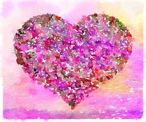 Digital watercolor painting of a heart in a variety of colors including pink and purple. Space for text.
