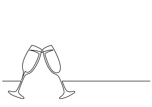 continuous line drawing of two glasses of champagne