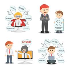 businessman bullying set illustration design