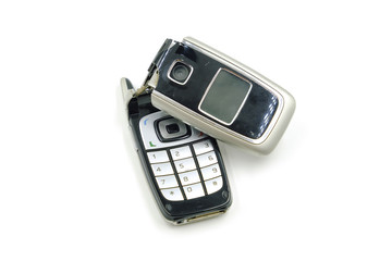Broken phone on white background