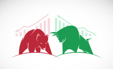 Vector of bull and bear symbols of stock market trends. The grow