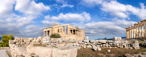 Fototapete - The Acropolis of Athens, panoramia with Erechtheion and Partheno