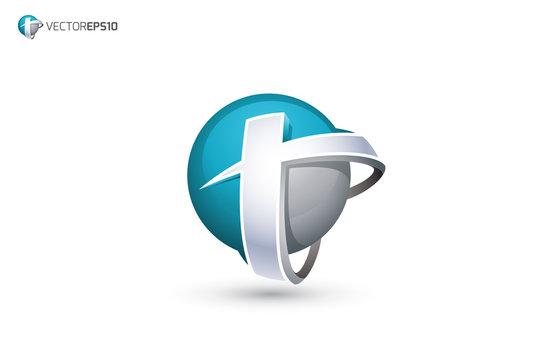 Abstract Letter T Logo - 3D Sphere Logo