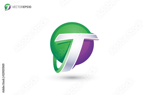 bed38288 Abstract Letter T Logo - 3D Sphere Logo