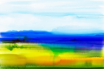 Abstract watercolor background. Semi- abstract watercolor painting landscape,image of tree, hill and green field with sunlight and blue sky. Spring season nature background