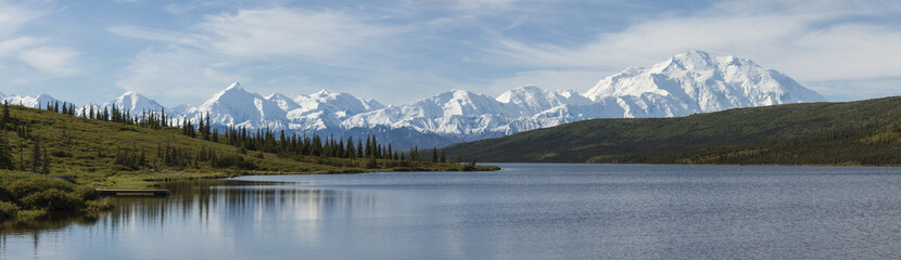 The Alaska Range and Wonder Lake in Denali National Park, Alaska