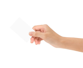hand holding blank card isolated with clipping path inside