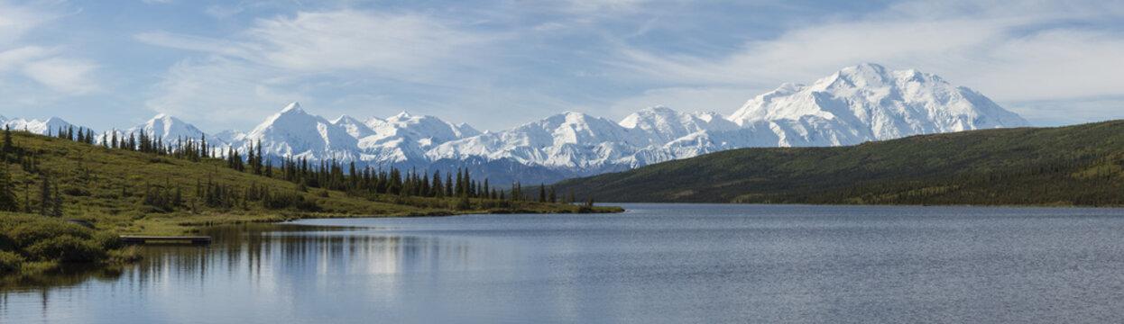 The Alaska Range and Wonder Lake in Denali National Park, Alaska
