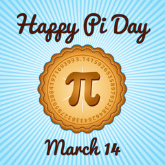 Happy Pi Day, March 14, to celebrate the mathematical constant Pi, 3.14, and to eat lots of fresh baked sweet pie, international holiday, blue rays background.