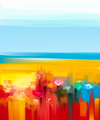 Abstract colorful oil painting landscape on canvas. Semi- abstract image of flowers, meadow and field in yellow and red with blue sky. Spring, Summer season nature background