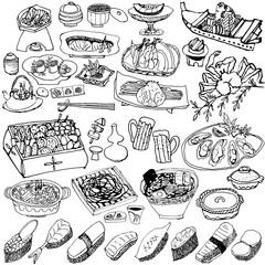 日本料理 懐石 手書きイラスト
