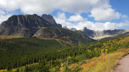 The valley and mountains of the Many Glacier area in Glacier National Park on a glorious autumn day.