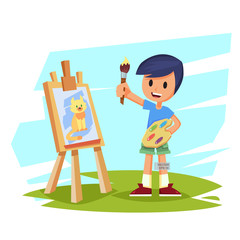artist boy child painting cat on canvas. character design. Creative people professions collection. Cute cartoon vector illustration