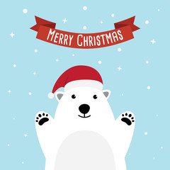 Polar bear cartoon character. A Cute Polar bear wearing Santa Claus hat standing on sky blue background. Flat design Vector illustration for Merry Christmas and Happy New Year invitation card.