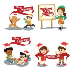christmas with friend cartoon set