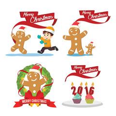 ginger cristmas cartoon set