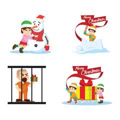 cristmas gifts cartoon set