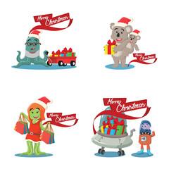 cristmas monster cartoon set