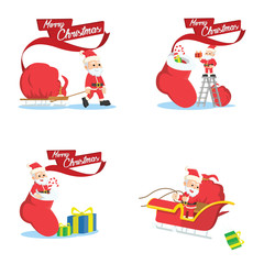 santa 3 cartoon set