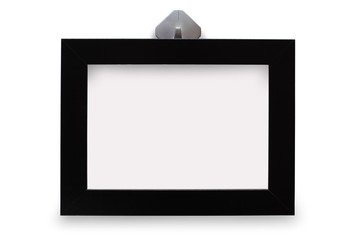 Black photo frame. Isolated with shadow