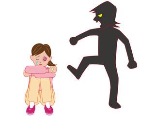 暴力を受けて泣く女性
