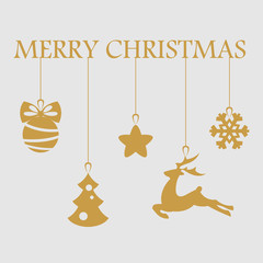 Christmas objects hanging line gold isolated background