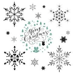 Beautiful snowflakes set for christmas