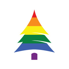 Christmas tree in rainbow colors on white background